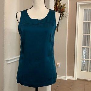 Ann Taylor teal silk sleeveless scoop neckline top